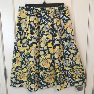 BRIGHT FLORAL FULL MIDI SKIRT